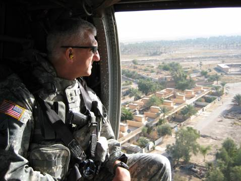 Multi-National Division-North Commanding General Mark Hertling surveying the terrain near Tikrit.