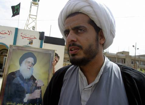 A March 2004 photo of Qais al-Khazaali, an Iranian-linked Iraqi Shia militant whose capture in March by coalition forces allegedly prompted the retaliatory kidnapping of five British nationals in Baghdad two months later.