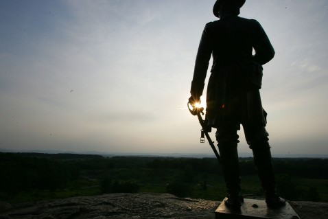 GETTYSBURG, PA: A statue of Brigadier General Gouverneur K. Warren sits atop Little Round Top at the Gettysburg battle field in Gettysburg, Pennsylvania.