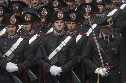 ROME - MAY 2: : Carabinieri (Italian special police) attend the funeral Mass for the Italian soldiers killed in Iraq