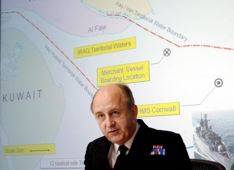 London, United Kingdom: British Royal Navy Vice-Admiral Charles Style gives a press conference in London, 28 March 2007, presenting maps and global positioning system (GPS) data on the seizure of British 15 sailors and marines in the Gulf 23 March 2007.