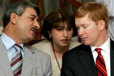 Salam al-Zuba'i (L) speaks with Rep. Adam Putnam (R-FL) at the US ambassador's residence in Baghdad, June 2006.