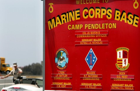 CAMP PENDLETON, CA - JUNE 16: The main gate at the Camp Pendleton Marine Corps base on June 16, 2006 in Oceanside, California.