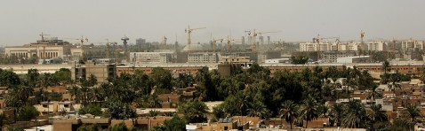 BAGHDAD, IRAQ - AUGUST 31: Cranes litter the skyline as construction workers continue work on the new United States Embassy compound in Baghdad's fortified Green Zone on August 31, 2006 in Baghdad, Iraq. A new U.S. embassy is currently under construction.