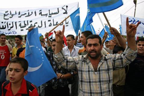 Iraqi Turkmen demonstrate in the oil rich city of Kirkuk to protest against federalism and to insist on the Iraqi Identity of the ethnically mixed city, October 11, 2006.