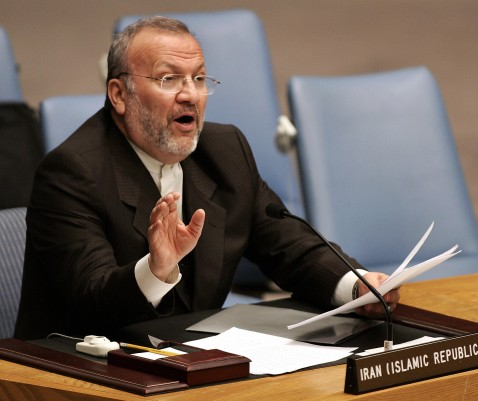 UNITED NATIONS, UNITED NATIONS: Iranian Foreign Minister Manouchehr Mottaki speaks before the United Nations Security Council 24 March 2007.