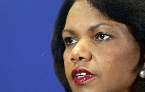 JERUSALEM, -: US Secretary of State Condoleezza Rice attends a press conference, 27 March 2007, in Jerusalem. Rice, wrapping up her Middle East peace mission.