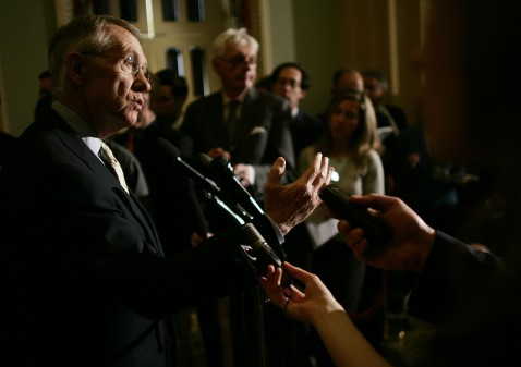 Senate majority leader Harry Reid addresses reporters at the Capitol on Tuesday.