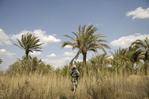 A picture released by the US military 05 April 2007, shows a US soldier watching for enemy activity during a patrol, March 31, 2007.