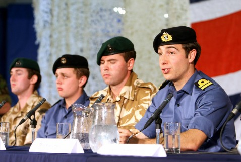 Chivenor, UNITED KINGDOM: Royal Navy personel (from L) Mne Joe Tindell, OM Arthur Batchelor, Cpt Christopher Air and Lt Felix Carman attend a press conference about their experiences while being held captive in Iran at the RMB Chivenor in Devon, 06 April 2007.