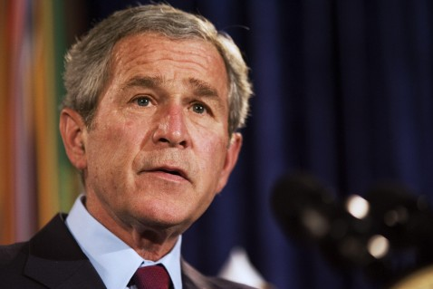 Fairfax, UNITED STATES: US President George W. Bush speaks on the Iraq war supplemental 10 April 2007 at the American Legion Post 177 in Fairfax, Virginia.