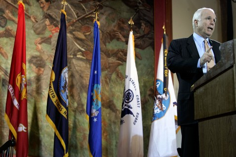 LEXINGTON, VA - APRIL 11: Republican U.S. presidential hopeful John McCain speaks on the war in Iraq at the Jackson Memorial Hall of the Virginia Military Institute April 11, 2007 in Lexington, Virginia.