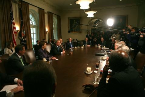 President Bush meets Congressional leaders in the Cabinet Room of the White House on Wednesday.