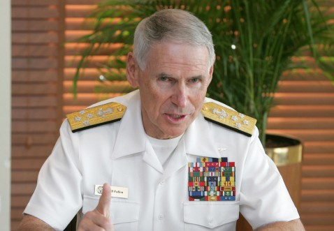 Abu Dhabi, UNITED ARAB EMIRATES: US Central Command's new Chief Admiral William Fallon speaks at a press conference in the Emirati capital Abu Dhabi, 24 April 2007.
