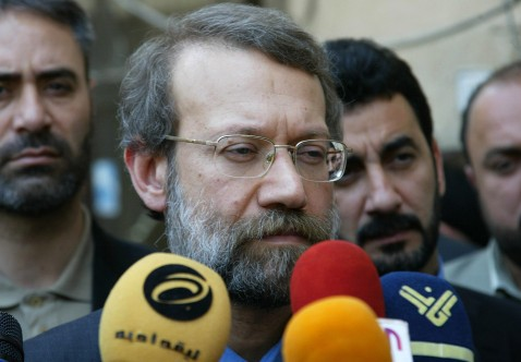 NAJAF, IRAQ: Iran's top security official Ali Larijani speaks to the press after his meeting with Iranian-born cleric Grand Ayatollah Ali Sistani in the holy city of Najaf, central Iraq, 01 May 2007.