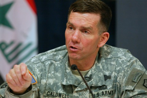 BAGHDAD, IRAQ - MAY 13: US Major General William Caldwell IV, spokesman of the Multi-national Forces-Iraq speaks at a press conference with US Brigadier General C. Mark Gurganus (not pictured) on May 13, 2007 in Baghdad's heavily-fortified Green Zone, Ira