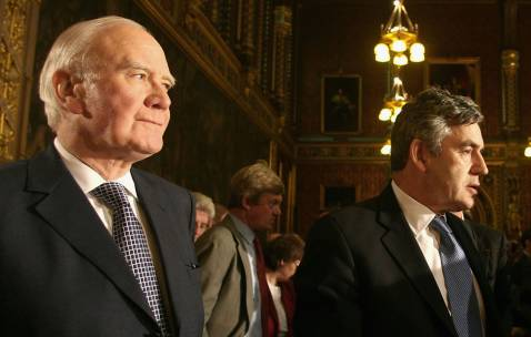 British Liberal Democratic Party Leader Sir Menzies Campbell and Prime Minister Gordon Brown.