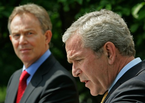 WASHINGTON - MAY 17: British Prime Minister Tony Blair (L) listens as U.S. President George W. Bush speaks at a news conference in the Rose Garden of the White House May 17, 2007 in Washington, DC.
