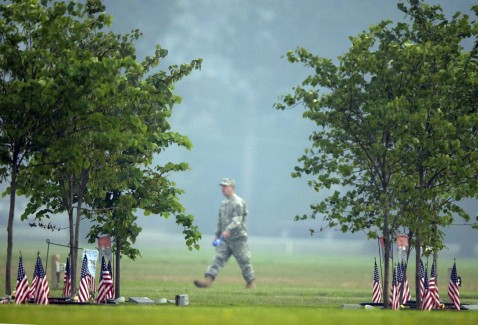 FORT STEWART, GA-MAY 17: A soldier with the Army's 3rd Infantry Division walks along Warrior's Walk before a ceremony for five soldiers who recently died in in Iraq.
