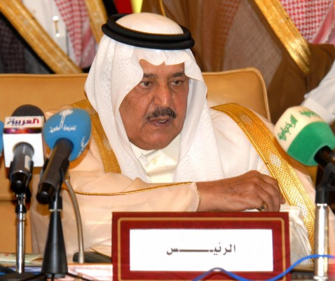 Riyadh, SAUDI ARABIA: Saudi Interior Minister Prince Nayef bin Abdulaziz al-Saud chairs a session as Gulf Cooperation Council Interior ministers and their delegations meet in Riyadh, 20 May 2007.
