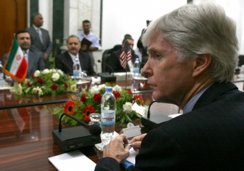 BAGHDAD, IRAQ - MAY 28: U.S. Ambassador to Iraq Ryan Crocker, right and his Iranian counterpart Hassan Kazemi Qomi, left, attend a meeting on security in Iraq at the Iraqi Prime Minister's office on May 28, 2007 in the Green Zone Baghdad, Iraq.