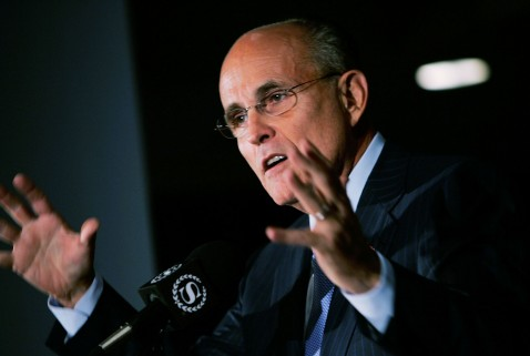 Republican presidential candidate and fromer New York City mayor Rudy Giuliani addresses supporters on security issues May 31, 2007 in New York City. Former FBI director Louis Freeh announced his support for Giuliani in his bid for the presidency.
