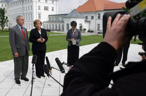 HEILIGENDAMM, GERMANY - JUNE 06: U.S. President George W. Bush and German Chancellor Angela Merkel speak to the media after bilateral talks at the G8 summit June 6, 2007 in Heiligendamm, Germany.