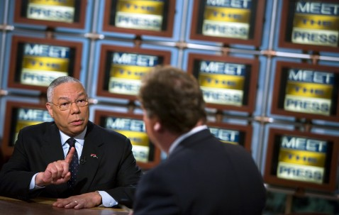 WASHINGTON - JUNE 10: (AFP OUT) Former US Secretary of State General Colin Powell (L) speaks with Tim Russert during a live taping of NBC's Meet the Press June 10, 2007 in Washington, DC.