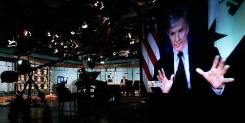 U.S. Ambassador to Iraq Ryan Crocker is shown talking on a monitor screen on the set of Meet the Press.