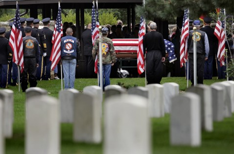 Graveside services for Pfc. Michael P. Pittman are held June 22, 2007 at the Rock Island National Cemetery in Rock Island, Illinois.