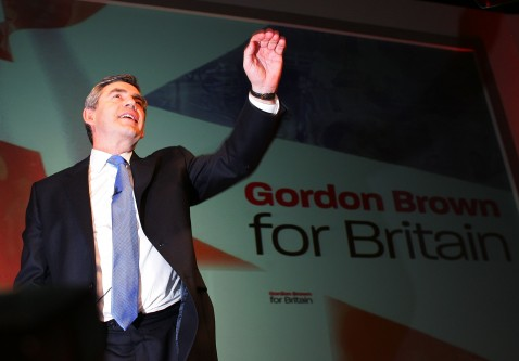 MANCHESTER, UNITED KINGDOM - JUNE 24: Gordon Brown waves before he addresses Labour party members at The Bridgewater Hall, Manchester, after being confirmed as the new party leader on June 24, 2007, Manchester, England.