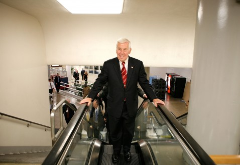 WASHINGTON - JUNE 26: U.S. Sen. Richard G. Lugar (R-IN) rides an escalator after getting off the subway at the U.S. Capitol June 26, 2007 in Washington, DC.