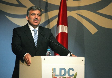 Istanbul, TURKEY: Turkish Foreign Minister Abdullah Gul gives an opening speech during a conference of the least developed countries in Istanbul 09 July 2007.