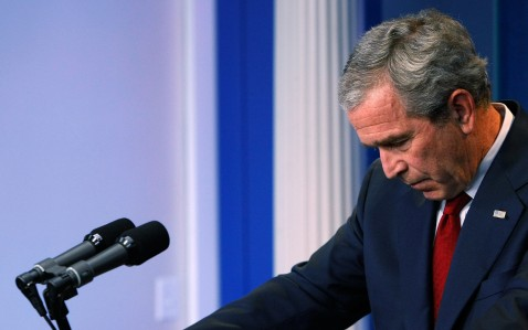WASHINGTON - JULY 12: U.S. President George W. Bush looks downward as he listens to a question about the war in Iraq during a press conference July 12, 2007 at the White House in Washington, DC.
