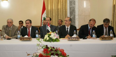 Baghdad, IRAQ: A picture released by Iraq's Prime Minister's Office, 24 July 2007 shows Iraq's Prime Minister Nuri Al-Maliki (3rdL) attending with members of his government the US-Iranian talks in Baghdad.
