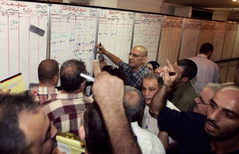 Iraqi Stockbrokers Write The Prices Of Stocks On A Board At Iraq Stock Exchange In