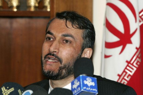 Iranian foreign ministry pointman on Iraq, Hossein Amir-Abdollahian, speaks during a press conference at the Iranian Embassy in Baghdad, 06 August 2007.