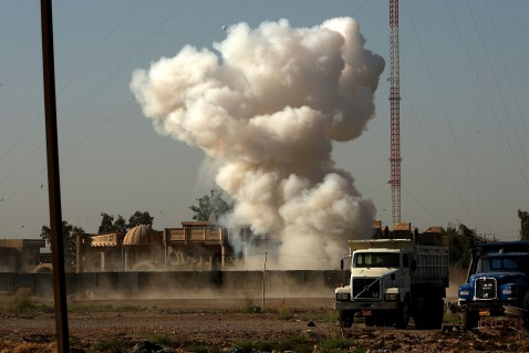 BAGHDAD, IRAQ - AUGUST 16: An IED (Improvised Explosive Device) is detonated in the Ghazaliya neighborhood, which has been used as a base by Sunni insurgents, August 16, 2007 in Baghdad, Iraq.