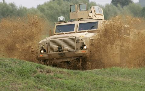 A Mine Resistant Ambush Protected vehicle, or MRAP, maneuvers through a test course at the US Army's Aberdeen Proving Ground in Aberdeen, Maryland, 24 August 2007.