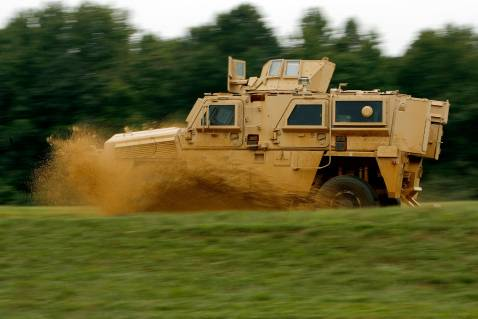 ABERDEEN PROVING GROUND, MD - AUGUST 24: A Category I Mine Resistant, Ambush Protected vehicle (MRAP) drives through an off-road course during a demonstration at Aberdeen Proving Ground on Friday, August 24, 2007 in Aberdeen, Maryland.