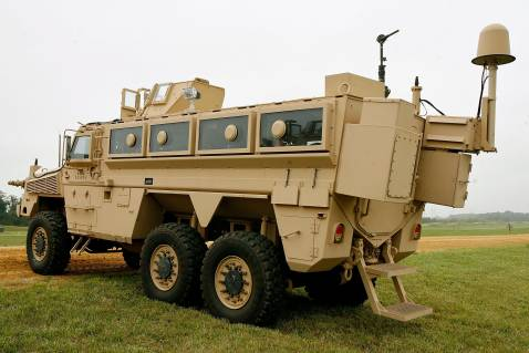 ABERDEEN PROVING GROUND, MD - AUGUST 24: A Category II Mine Resistant, Ambush Protected vehicle (MRAP) is on display during a demonstration at Aberdeen Proving Ground on Friday, August 24, 2007 in Aberdeen, Maryland.