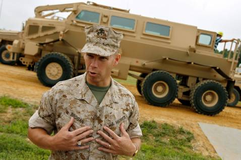 ABERDEEN PROVING GROUND, MD - AUGUST 24: Brig. Gen. Michael Brogan, joint program executive officer and commander of Marine Corps Systems Command, answers questions from the news media during a demonstration of the Mine Resistant, Ambush Protected vehicle