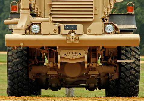 A Category III Mine Resistant, Ambush Protected vehicle (MRAP)