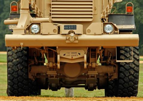 ABERDEEN PROVING GROUND, MD - AUGUST 24: A Category III Mine Resistant, Ambush Protected vehicle (MRAP) is on display during a demonstration at Aberdeen Proving Ground on Friday, August 24, 2007 in Aberdeen, Maryland.
