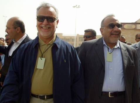 Iraqi vice presidents Tareq al-Hashemi (L) and Adel Abdel Mahdi (R) arrive to attend a one-day forum meeting that brought together US Senator Joseph Biden, tribal leaders and Iraqi Anbar's provincial capital Ramadi, on September 06.