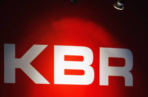LONDON - SEPTEMBER 11: The KBR logo is illuminated during the Defence Systems and Equpment International (DSEi) at the Excel Centre on September 11, 2007 in London, England.