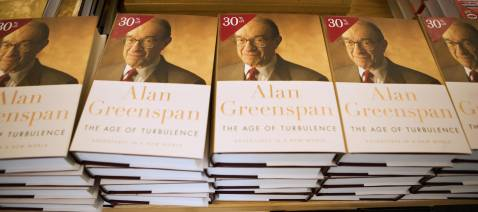 Copies of 'The Age of Turbulence: Adventures in a New World' by former federal Reserve chairman Alan Greenspan are seen in a local book store 17 September 2007 in Washington, DC.