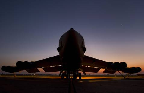 A US Air Force B-52H long range bomber, part of the US Eight Air Force, 2nd Bomb Wing fleet, waits before sunrise 18 September 2007 from Barksdale Air Force Base in Louisiana.