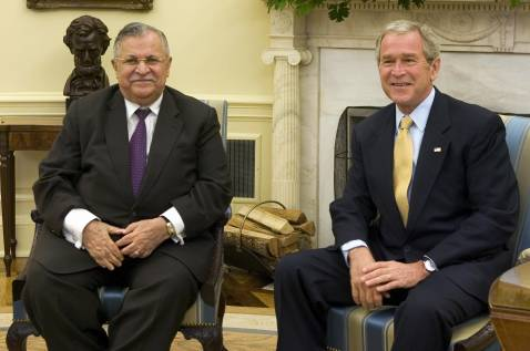 President George W. Bush meets with the President of Iraq, Jalal Talabani, prior to a meeting in the Oval Office at the White House in Washington, DC, 02 October 2007.
