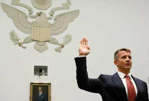 WASHINGTON - OCTOBER 02: Erik Prince, chairman of the Prince Group, LLC and Blackwater USA, is sworn in during a House Oversight and Government Reform Committee hearing on Capitol Hill October 2, 2007 in Washington DC.